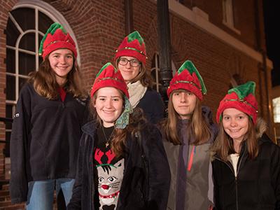 Santa's elves: Kayleigh Miligan, Barbara Kolan, Anna Kolan, Aideen Milligan, and Celia Lanza.